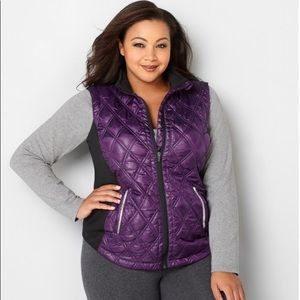 Women Quilt Vest W/ Knit Sides Purple Size 26/28
